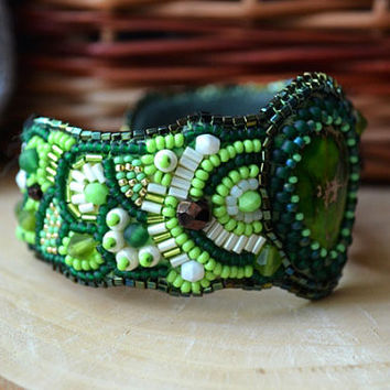 Green Cuff Beaded Ocean Jasper Bracelet Bead Embroidered Seed Bead Bracelet Bead Embroidery Beadwork Bracelet Bracelet Embroidered Jewelry
