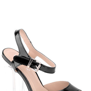 Patent Strappy Heeled Sandals-Black-UK 5 - EU 38