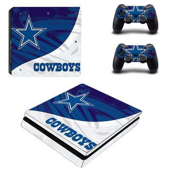 Dallas Cowboys: Vinyl Slim Skin Decal for Sony PlayStation 4 Console and 2 Controllers