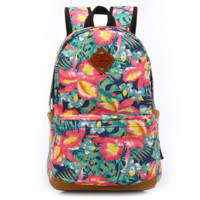 Women's Lightweight Fashion Floral Print Canvas Backpack Daypack + Free Gift Cute Elephant Ring