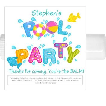 15 Pool Party Birthday Lip Balm Favors