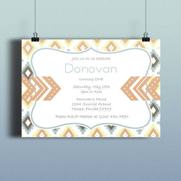 Instant Download-Tribal Aztec Arrows Orange Blue Brown DIY Printable Birthday Party Baby Boy Shower Bridal Wedding Invitation Template