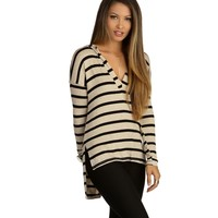 Taupe Chill Day Striped Top
