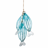 String of Three Blue Fish Glass Christmas Holiday Ornament