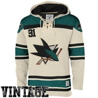Men's San Jose Sharks Old Time Hockey Stone Home Lace Heavyweight Hoodie