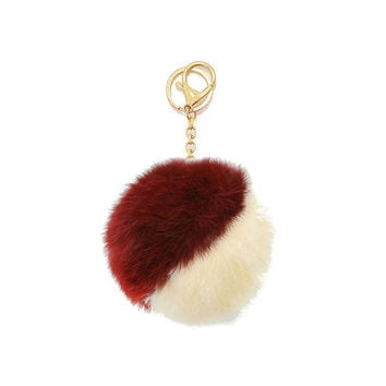 Beige, Burgundy & Gold Two Tone Rabbit Fur Pom Pom Key Chain / Bag Charm Keychain, gift