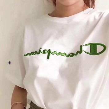 Champion Trending Women Men Casual Green Logo Embroidery Short Sleeve Lovers T-Shirt Top I12099-1