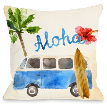 """Aloha Surf Van"" Indoor Throw Pillow by OneBellaCasa, 16""x16"""