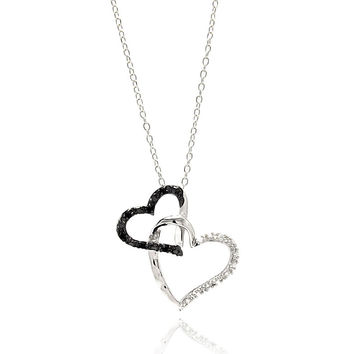 .925 Sterling Silver Double Open Heart Necklace