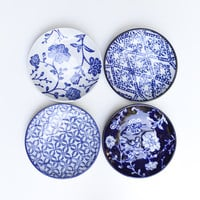 Set of Four Small Handpainted Blue And White Ceramic Appetizer Dishes by Vagabond Vintage