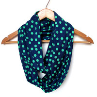Navy and Green Polka Dot Infinity Scarf, Jersey Knit Scarf, Polka Dot Scarf, Navy and Green Scarf, Navy and Green Accessories