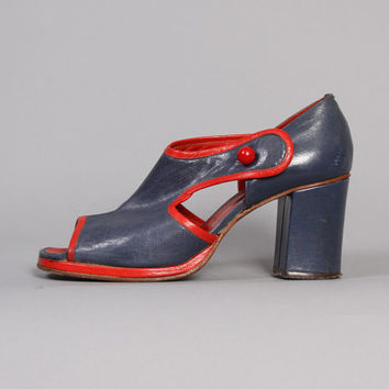 60s Mod Cut-Out HEELS / 2-Tone Blue & Red Peep Toe Sandals, 7