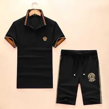 Versace 2018 casual shorts short sleeve men's tide fashion two-piece suit F-A-KSFZ black