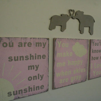 You Are My Sunshine Pink Nursery Decor Pink Nursery Wallhanging Girls Room Decor Distressed Wood Sign Shabby Chic Sign Handpainted Sign