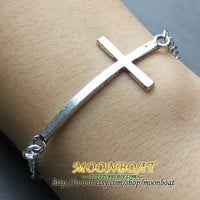 Antique Silvery Cross Bracelet MB603
