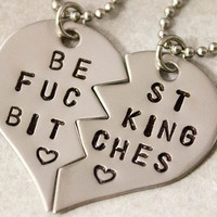 Best F%cking Bitches Necklaces - Best Friend Jewelry - BFF Jewelry - Best Bitch Charms - Stainless Steel Necklace Set - Best Friend Gift