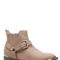 Taupe Faux Leather Pointed Toe Ankle Boots