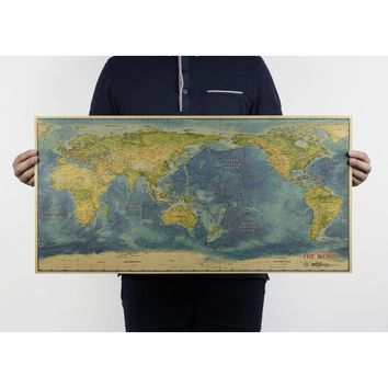 World map/C style/kraft paper/bar poster/Retro Poster/decorative painting 72.5x35.5cm Free shipping