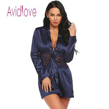 with Sexy Lingerie Robe Long Sleeve Lace Patchwork Nightwear Women G-string