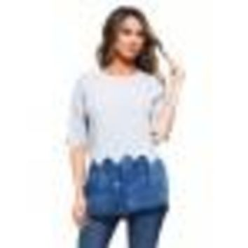 -Contrast Knit Denim Top
