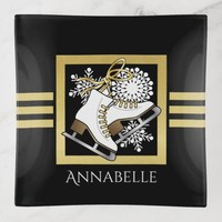 Ice Skating Themed Black and Faux Gold Modern Name Trinket Trays