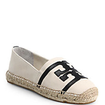 Tory Burch - Canvas & Leather Logo Espadrilles - Saks Fifth Avenue Mobile