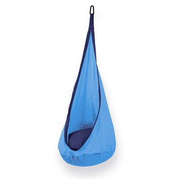 Hanging Nest Hammock Pod Swing Chair For Kids Complete Set- Light Blue