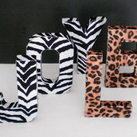 CHEETAH or ZEBRA  LETTERS - Large Eco Felt Animal Print letters for wall or desktop