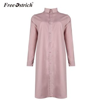 Free Ostrich Shirt Women Turn-down Collar Long Blouse Casual Oversized Full Sleeve Button Solid Plus Size Tops Female L2940