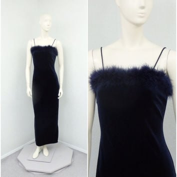 Vintage 90s Midnight Blue Velvet Dress, Feather Trim, Formal Maxi Dress, Bodycon Dress, Prom Dress, Long Formal Gown, Evening Gown