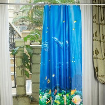Waterproof Shower Curtain Bathroom Products 3D Dolphin sea fish Bath Curtain cortina de bano with 12 Hooks 180*180cm