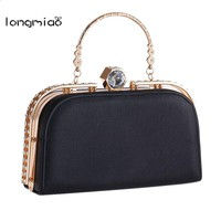 longmiao New Crystal Diamond Clasp Ladies Messenger Bags Girls Glitter Evening Bags Day clutch Party Purse Woman Wedding Handbag