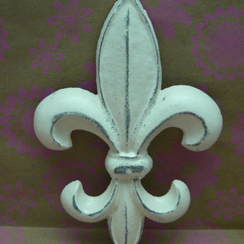 Fleur de lis Metal Cast Iron Painted Distressed Creamy Off White Classic Shabby Chic Wall Decor French Decor, Paris Ecru