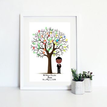 Personalize Name Date Boy First Holy Communion Souvenir Fingerprint Tree Guestbook For Baptism Decoration Happy Birthday Gift