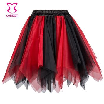 Red & Black Layered Asymmetrical Tulle Mini Skirt Sexy Petticoat Fluffy Pettiskirt Corset Tutu Skirts For Women Dance Clubwear