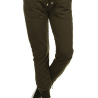 Quilted Joggers - Olive