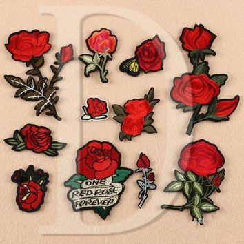 ac NOOW2 1 PCS Rose Embroidered Iron on Patches for Clothing DIY Stripes Clothes Patchwork Sticker Custom Flowers Applique @Z 1-11