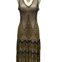 1920s Style Black & Gold Seven Voyages Beaded Reproduction Flapper Dress - P1132 - Cabaret Vintage