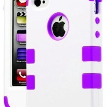 myLife Purple and White - Flat Color Series (3 Piece Protective) Hard and Soft Case for the iPhone 4/4S (4G) 4th Generation Touch Phone (Fitted Front and Back Solid Cover Case + Internal Silicone Gel Rubberized Tough Armor Skin)