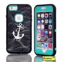 Iphone 6 Plus Case, Hybrid Hard Case Plastic And Silicone Back Case By Shimu High Impact Retro Anchor Case Black And Green