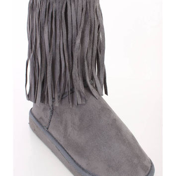 Grey Fringe Ankle Booties Faux Suede