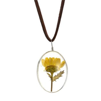 Dual Side Dried Sunflower Necklace Oval Pendant Flower Pressed Necklace