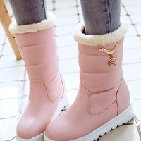New Pink Round Toe Wedges Sequin Rhinestone Fashion Mid-Calf Boots