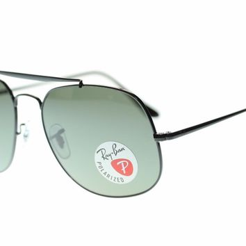 Ray Ban Man's Sunglasses RB3561 002/58 Black Green Porarized Lens Authentic