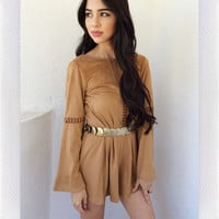 Warm Dusk Suede  Playsuit- Camel