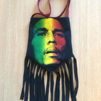 BOB MARLEY - Upcycled Rock T-Shirt Fringe Purse - ooaK