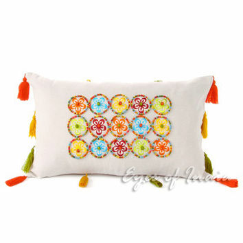 "20 X 12"" Button Pillow Cushion Colorful Decorative Toss Throw Orange Blue Green"