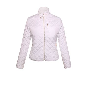 White Diamond Quilted High Neck Cotton Jacket