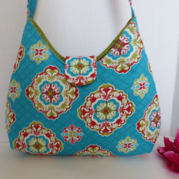 Shoulder Bag - Designer Bag - Purse - Medallion fabric - Handbag