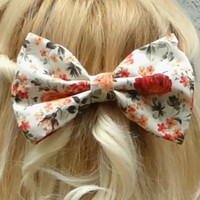 Big bow hair clip - floral print bow - bow barrette - vintage inspired bow - romantic - kawaii bow